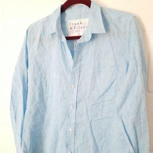 Frank & Eileen BARRY Linen L,/S Button Shirt Blue